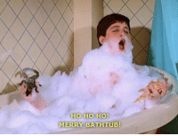 When you realize Christmas is a month away today 🐶🎄: HO HO HO!  MERRY BATHTUB! When you realize Christmas is a month away today 🐶🎄