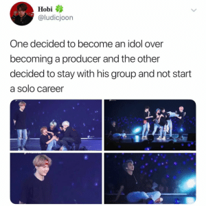 Sad, Mine, and One: Hobi  @ludicjoon  One decided to become an idol over  becoming a producer and the other  decided to stay with his group and not start  a solo career  ises i'm so SAD - 💌::follow→ @jeonitized (me!) for more 🍯::© to tweets that aren't mine -