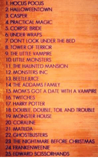 Casper, Christmas, and Edward Scissorhands: HOCUS POCUS  2 HALLOWEENTOWN  3. CASPER  A PRACTICAL MAGIC  5, CORPSE BRIDE  6 UNDER WRAPS  7 DONT LOOK UNDER THE BED  8 TOWER OF TERROR  9. THE LITTLE VAMPIRE  O LITTLE MONSTERS  H. THE HAUNTED MANSION  12. MONSTERS INC  13, BEETLEJUICE  14 THE ADDAMS FAMILY  15 MOMS GOT A DATE WITH A VAMPIRE  16 TWITCHES  I7 HARRY POTTER  18 DOUBLE, DOUBLE, TOIL AND TROUBLE  19 MONSTER HOUSE  20 CORALINE  21. MATILDA  22 GHOSTBUSTERS  23 THE NIGHTMARE BEFORE CHRISTMAS  24 FRANKENWEENIE  25, EDWARD SCISSORHANDS  ein 25 must watch Halloween movies 🎃🍂🍁👻 -Iceprincess