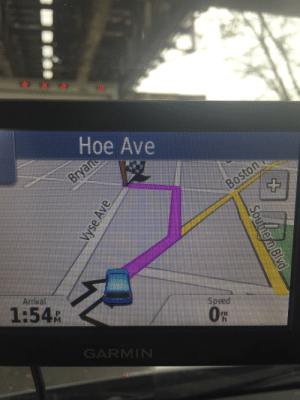 Hoe, Gps, and Speed: Hoe Ave  Arrival  Speed  1:54R  GARMIN My GPS taking me to where I belong