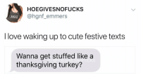 Cute, Love, and Thanksgiving: HOEGIVESNOFUCKS  @hgnf_emmers  I love waking up to cute festive texts  Wanna get stuffed like a  thanksgiving turkey?  UCKS V romantic