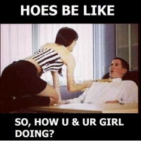 HOES BE LIKE  SO, HOW U & UR GIRL  DOING? always up in ur business...like the hoes they r !!!