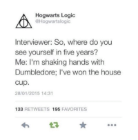Me.: Hogwarts Logic  @Hogwartslogic  ON  Interviewer: So, where do you  see yourself in five years?  Me: I'm shaking hands with  Dumbledore; I've won the house  Cup.  28/01/2015 14:31  133  RETWEETS 1955  FAVORITES Me.