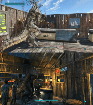 Thirsty, Tumblr, and Blog: Hold (l1 to open Workshop menu  Hold ElE  to open Workshop menu  TITT  BAR an-gremlin: pandassiin: i attracted a deathclaw to my settlement and all it ever does is queue for beverages Big Thirsty
