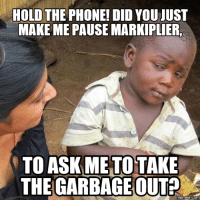 markiplier: HOLD THE PHONE! DID YOU JUST  MAKE ME PAUSE MARKIPLIER.  TO ASKMETOTAKE  THE GARBAGE OUT?  Memes Com