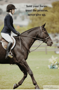 Yes: hold your focus.  trust the process.  never give up.  breeches.com Yes