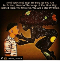 Repost @noble_omerta with @repostapp The universe is your mother. The sun the anceSTAR. A sun is just a big stars. We are stardust. Genes of a dead sun long ago. Children of the sun. 🙏🏾🌌🔮🌠⚡️🔥: Hold Your Head High My Sun; For You Are  Perfection, Made In The Image of The Most High  Birthed From The Universe. You Are a Star My Child.  ti  noble omerta Repost @noble_omerta with @repostapp The universe is your mother. The sun the anceSTAR. A sun is just a big stars. We are stardust. Genes of a dead sun long ago. Children of the sun. 🙏🏾🌌🔮🌠⚡️🔥