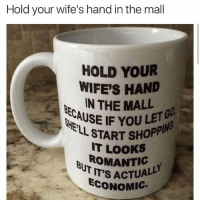 Life, Memes, and Life Hack: Hold your wife's hand in the mall  HOLD YOUR  WIFE'S HAND  IN THE MALL  ECAUSE IF YOUE  GO  L START SHOPP  IT LOOKS  IT'S ACTUALL  ECONOMIG Life hack