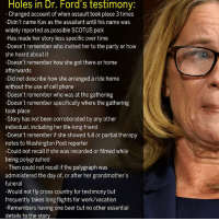 Beer, Life, and Memes: Holes in Dr. Ford's testimony:  Changed account of when assault took place 3 times  -Didn't name Kav as the assailant until his name was  widely reported as possible SCOTUS pick  -Has made her story less specific over time  -Doesn't remember who invited her to the party or how  she heard about it  -Doesn't remember how she got there or home  afterwards  -Did not describe how she arranged a ride home  without the use of cell phone  -Doesn't remember who was at the gathering  semmber specificaly where the gathering  took place  -Story has not been corroborated by any other  individual, including her life-long friend  -Doesn't remember if she showed full or partial therapy  notes to Washington Post reporter  Could not recall if she was recorded or filmed while  being polygraphed  Then could not recall if the polygraph was  administered the day of, or after her grandmother's  funeral  -Would not fly cross country for testimony but  frequently takes long flights for work/vacation  -Remembers having one beer but no other essential  details to the story This was hard to fit on one picture tbh. It's all there though.
