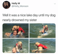 Memes, Nice, and 🤖: Holly M  @Holly_Monson  Well it was a nice lake day until my dog  nearly drowned my sister RIP sis 🙏🏻