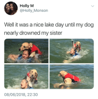 Memes, Pictures, and Nice: Holly M  @Holly_Monson  Well it was a nice lake day until my dog  nearly drowned my sister  08/06/2018, 22:30 Those pictures though... 😂😂
