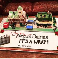 Memes, Mysticism, and 🤖: HOLLYWOOD  Vampire Diaries  JULIE  KEVIN mysTIC GRILL  MYSTIC GAILL  ampire Darles  the  ITS A WRAP!  TAKE  SCENE  D  AMERA  DATE  TMD Forever [ TVDForever] I love this cake so much! Yesterday was the last day of filming 😭 This show is my life, I honestly can't believe that it's over now 💔