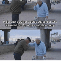 America, Friends, and Memes: Holocaust survivor salutes US soldier who  liberated him from concentration camp . ✅ Double tap the pic ✅ Tag your friends ✅ Check link in my bio for badass stuff - usarmy 2ndamendment soldier navyseals gun flag army operator troops tactical sniper armedforces k9 weapon patriot marine usmc veteran veterans usa america merica american coastguard airman usnavy militarylife military airforce tacticalgunners