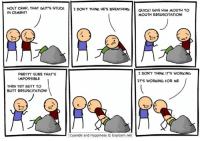 Dank, Cyanide and Happiness, and Impossibility: HOLY CRAP, THAT GUY'S STUCK.  I DON'T THINK HE'S BREATHING  GIVE To  QUICK! HIM MOUTH IN CEMENT!  MOUTH RESUSCITATION!  I DON'T THINK IT S WORKING  PRETTY SURE THAT'S  IMPOSSIBLE  IT'S WORKING FOR ME  THEN TRY BUTT TO  BUTT RESUSCITATION!  Cyanide and Happiness Explosm.net By Dave. Tag a friend who is a lifesaver!!⠀ www.explosm.net will help you in ways you never imagined. Just try it out!