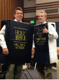 HOLY THE  BOOK  OF  BIBLE  MORMON  VERSION Elder Jensen and Elder Wegelen dressed up as the scriptures at a ward Trunk or Treat party. 😂😂😂😂