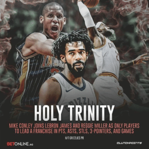 Memphis Grizzlies, LeBron James, and Nba: HOLY TRINITY  MIKE CONLEY JOINS LEBRON JAMES AND REGGIE MILLER AS ONLY PLAYERS  TO LEAD A FRANCHISE IN PTS, ASTS, STLS, 3-POINTERS, AND GAMES  HIT GRIZZLIES PR  BETONLINE.AG  CL  UTCHPOTNTS Mike Conley is the most underrated player in the NBA of this generation. Change my mind. — @griznationcp @betonline_ag