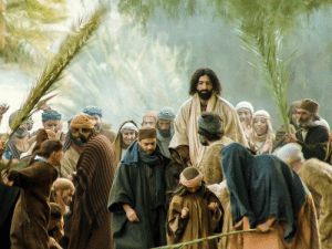 "Holy Week - Day 1: Palm Sunday's Triumphal Entry  Beginning with Palm Sunday, we'll walk the steps of Jesus Christ this Holy Week, visiting each of the major events that occurred during our Savior's week of passion.  On the Sunday before his death, Jesus began his trip to Jerusalem, knowing that soon he would lay down his life for the sins of the world. Nearing the village of Bethphage, he sent two of his disciples ahead to look for a donkey with its unbroken colt. Jesus instructed the disciples to untie the animals and bring them to him.  Then Jesus sat on the young donkey and slowly, humbly, made his triumphal entry into Jerusalem, fulfilling the ancient prophecy in Zechariah 9:9. The crowds welcomed him by waving palm branches in the air and shouting ""Hosanna to the Son of David! Blessed is he who comes in the name of the Lord! Hosanna in the highest!""  On Palm Sunday, Jesus and his disciples spent the night in Bethany, a town about two miles east of Jerusalem. In all likelihood, Jesus stayed in the home of Mary, Martha, and Lazarus, whom Jesus had raised from the dead.: Holy Week - Day 1: Palm Sunday's Triumphal Entry  Beginning with Palm Sunday, we'll walk the steps of Jesus Christ this Holy Week, visiting each of the major events that occurred during our Savior's week of passion.  On the Sunday before his death, Jesus began his trip to Jerusalem, knowing that soon he would lay down his life for the sins of the world. Nearing the village of Bethphage, he sent two of his disciples ahead to look for a donkey with its unbroken colt. Jesus instructed the disciples to untie the animals and bring them to him.  Then Jesus sat on the young donkey and slowly, humbly, made his triumphal entry into Jerusalem, fulfilling the ancient prophecy in Zechariah 9:9. The crowds welcomed him by waving palm branches in the air and shouting ""Hosanna to the Son of David! Blessed is he who comes in the name of the Lord! Hosanna in the highest!""  On Palm Sunday, Jesus and his disciples spent the night in Bethany, a town about two miles east of Jerusalem. In all likelihood, Jesus stayed in the home of Mary, Martha, and Lazarus, whom Jesus had raised from the dead."