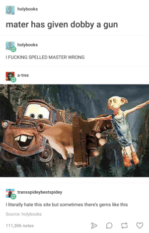 Fucking, Tumblr, and Stuff: holybooks  mater has given dobby a gun  holybooks  I FUCKING SPELLED MASTER WRONG  a-trex  transspideybestspidey  I literally hate this site but sometimes there's gems like this  Source: holybooks  111,306 notes I question deleting my tumblr a lot then this kind of stuff shows up and pulls me back in