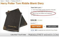 """<p>ha <a href=""""http://ift.tt/1gBN3bm"""">http://ift.tt/1gBN3bm</a></p>: Home> BooksFantasy & Sci-Fi >  Harry Potter Tom Riddle Blank Diary  """"Dear Dark Lord...  From Harry Potter and the Chamber of Secrets  .May or may not contain Lord Voldemort  $39.99 In stock  Quantity:  BUY NOW  add to wishlist  Like  241 people like this. Be the first of your friends.  Like this? You'll hate  MUGGLENET MEMES.COM <p>ha <a href=""""http://ift.tt/1gBN3bm"""">http://ift.tt/1gBN3bm</a></p>"""