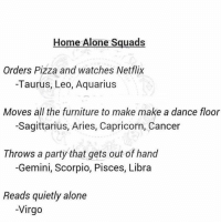 gets-out-of-hand: Home Alone Squads  Orders Pizza and watches Netflix  -Taurus, Leo, Aquarius  Moves all the furniture to make make a dance floor  -Sagittarius, Aries, Capricorn, Cancer  Throws a party that gets out of hand  -Gemini, Scorpio, Pisces, Libra  Reads quietly alone  -Virgo