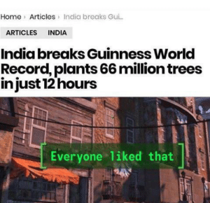 Home, India, and Record: Home Articles India breaks Gu..  ARTICLES INDIA  India breaks Guinness World  Record, plants 66 million trees  injust 12 hours  Everyone liked that You India you win