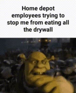 They cant stop me!: Home depot  employees trying to  stop me from eating all  the drywall They cant stop me!