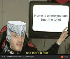 A PewDiePie meme disguised as a Jojo meme disguised as a PewDiePie meme: Home is where you can  trust the toilet  and that's a fact  O reddit  Posted in r/ShitPostCrusaders by u/wtfstingray A PewDiePie meme disguised as a Jojo meme disguised as a PewDiePie meme