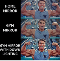 Gym, Memes, and True: HOME  MIRROR  GYM  MIRROR  GMIND PHYSIQUE AES  GYM MIRROR  WITH DOWN  LIGHTING True dat