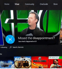 Community, Video Games, and Home: Home  Mixer  Community  OneGuide Store  Missed the disappointment?  See what's happened at E3  Following Search channels  sts  XBOX360  RCRY  WORLDOFTANKS