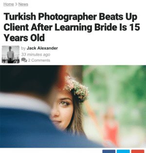 "Being Alone, Facebook, and Girls: Home News  Turkish Photographer Beats Up  Years Old  Client After Learning Bride Is 15  by Jack Alexander  33 minutes ago  2 Comments erikacpataki: likeawinterbird:  vague-humanoid:  anthonybourdainpartsunknown: corrective action be the change you want to see in the world  His name is   Onur Albayrak! Here's the story.   Hurriyet Daily News reports that Albayrak had been hired to photograph the July 5th wedding at Turgut Özal Nature Park in the eastern Turkish province of Malatya. On the day of, when he noticed that the bride-to-be didn't look like an adult, he asked the groom her age and learned that she was only 15. ""The groom had come to my studio some two weeks ago and was alone,"" Albayrak tells the Daily News. ""I saw the bride for the first time at the wedding. She's a child, and I felt her fear because she was trembling."" Albayrak then reportedly refused to continue as the wedding photographer and attempted to stop the wedding.    The argument soon turned physical when the groom attacked him as he was attempting to leave, Albayrak says. The photographer ended up breaking the client's nose in the fight, according to local reports. Albayrak confirmed the reports in a Facebook post, which has been met with widespread approval, attracting thousands of Likes and hundreds of overwhelmingly positive comments.   ""I wish this had never happened, but it did,"" Albayrak writes. ""And if you were to ask me if I'd do the same thing again, I'd say 'yes.' Child brides are [victims] of child abuse and no power on earth can make me photograph a child in a wedding gown."" The legal minimum age for marriage in Turkey is 18-years-old for both sexes, and child marriage is punishable by imprisonment for men who marry underage girls. Despite being outlawed, however, child marriage is still prevalent in the country and remains a controversial political issue. [Source] – go read the rest!   this guy is a hero. btw - let's remind ourselves, americans, that unlike turkey, in the US the legal minimum age for marriage is only 18 in two states. in alabama, you can be married as young as fourteen years old if you have ""parental permission"". in california, you can get married under 18 if you go to counseling, have a parent with you when you apply for the marriage license, and appear before a judge. in some states, there isn't even a specific minimum age for marriage. the minimum marriage age for girls in new hampshire is 13 years old. 48 states allow child marriage. child marriage is not an ""over there"" problem, it happens right here, legally. any one of us might find ourselves called upon to break somebody's nose if we encounter something like this occurring. we also have a responsibility to support groups and laws trying to end child marriage in this country."
