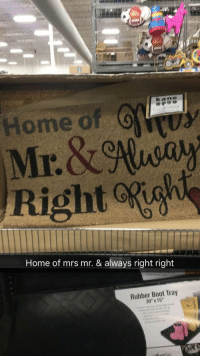 "Home, Rubber, and Mrs: Home O  Right igh  Home of mrs mr. & always right right  Rubber Boot Tray  30""X 15"""