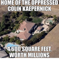 Colin Kaepernick, Memes, and American: HOME OFTHE OPPRESSED  COLIN KAEPERNICK  4,600 SQUARE FEET  WORTH MIL trump Trump2020 presidentdonaldtrump draintheswamp makeamericagreatagain trumptrain triggered ------------------ FOLLOW👉🏼 @conservative.american 👈🏼 FOR MORE🇺🇸🇺🇸