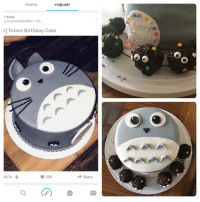 Birthday, Food, and Saw: Home  Popuiar  r/food  u/chikeetaBonBon 6h  e] Totoro Birthday Cake  20.7k  235  Share  0 <p>Expectations VS Reality - A couple weeks ago, I saw this post of a Totoro cake. I tried making one for a friend's birthday. Also, by the time I realized I forgot his whiskers, it was too late to add them :(</p>
