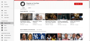 Well boys we did it we got number 2 on trending: Home  Popular on YouTube  SUBSCRIBE 29M  Trending  29,788,601 subscribers  Subscriptions  HOME  ABOUT  Library  Popular Right Now  PLAY ALL  History  Denept  Dsuep  LADY TRAMP NETFLIX  MANDALORIAN  Watch later  >  Liked videos  OFFICIAL TRAILER  OFFICIAL TRAILER.  OFFICIAL TRAILER  1:36  1:57  1:25  6:22  1:11  SUBSCRIPTIONS  Marzia & Felix - Wedding  The Mandalorian   Official  Trailer Disney+ Streaming...  El Camino: A Breaking Bad  Movie   Date Announcement...  Lady and the Tramp   Official  Trailer Disney+   Streamin...  Disney+   Start Streaming  November 12  19.08.2019  Popular on YouT..  Walt Disney Studios  Star Wars  8.3M views 1 day ago  Disney  825K views 1 day ago  PewDiePie  Netflix  8.1M views 13 hours ago  1.9M views 1 day ago  673K views 6 hours ago  Music  Sports  PLAY ALL  Sports Highlights & Great Moments  Gaming  Catch up on the greatest moments and stories from the world of sports.  MORE FROM YOUTUBE  YouTube Premium  Movies & Shows  FIRST  7:19TAKE  SC  SC  GAME RECA:41  7:16  5:08  10:41  US  Gaming Well boys we did it we got number 2 on trending