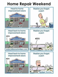 Head, Memes, and Home: Home Repair Weekend  Head to home  Realize you forgot  improvement store  a part  HARDWARE  Head back to home  Realize you forgot  improvement store  a part  HARDWARE  www.adriennehedger.com  R  Head back to home  Realize you forgot  improvement store  a part  #$%l  HARDWARE  uszzzza Hedger Humor My husband on the weekend.