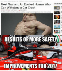 Jesus Christ... 😂 Sent in by Anthony Hueston.  #ChamF1B: Home Reviews consumer Electronics can Meet Graham Antvolved Human Who Can Wmstand a Car crash  Meet Graham: An Evolved Human Who  //MOST POP  19  Can Withstand a Car Crash  BY DOUG NEWCOMB JULY 29, 2016 10  COMMENTS  The lifelike sculpture shows how our bodies would have to adapt to prevent injury ineven minor vehicle collisions  NETFLIX  RESUITS ORMORE SAFETY  h HU  IMPROVEMENTS FOR 2017 Jesus Christ... 😂 Sent in by Anthony Hueston.  #ChamF1B