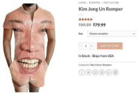 Kim Jong-Un, Memes, and Pop: HOME ROMPERS  Kim Jong Un Romper  / POP CULTURE  $99.99 $79.99  Size  Choose an option  ADD TO CART  In Stock-Ships from USA  Categories: Pop Cuiture, Rompers Need this!! 😂 follow 👉 @wolfgrillz 4 more