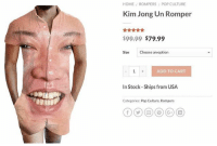 Kim Jong-Un, Memes, and Pop: HOME  ROMPERS POP CULTURE  Kim Jong Un Romper  $99.99 $79.99  Size Choose an option  ADD TO CART  In Stock Ships from USA  Categories: Pop Culture, Rompers ☑️ADD TO CART
