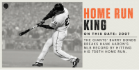 Twenty-two years of slugging https://t.co/PcaKNc5rRq: HOME RUN  KING  ON THIS DATE: 2O 0 7  THE GIANTS' BARRY BONDS  BREAKS HANK AARON'S  MLB RECORD BY HITTING  HIS 756TH HOME RUN Twenty-two years of slugging https://t.co/PcaKNc5rRq