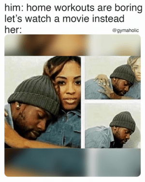 Home workouts are boring, let's watching a movie instead 👀  Gymaholic App: https://www.gymaholic.co  #fitness #motivation #workout #meme #gymaholic: Home workouts are boring, let's watching a movie instead 👀  Gymaholic App: https://www.gymaholic.co  #fitness #motivation #workout #meme #gymaholic