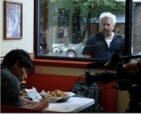 Food, Homeless, and Stock Market: Homeless man after the stock market crash of 1929 longingly looks at a strangers food (colorized)