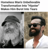 """Homeless Man's Unbelievable  Transformation Into """"Hipster""""  Makes Him Burst Into Tears SWIPE ➡️ I mean.. Wow!   For more @aranjevi"""