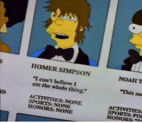 "Homer Simpson: HOMER SIMPSON  NOAH T  I can't believe I  ate the whole thing.  This su  ND  ACTIVITIES: NONE  SPORTS: NONE  HONORS: NONE  SPORTS: PO  HONORS:""S"