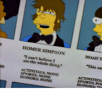 """me irl: HOMER SIMPSON  NOAH T  I can't believe I  ate the whole thing.  This su  ACTIVITIES: NONE  SPORTS: NONE  HONORS: NONE  SPORTS: PO  HONORS:""""S me irl"""