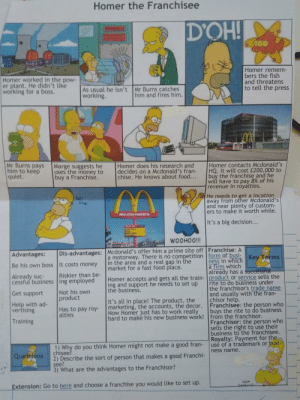 My business studies teacher gave us this: Homer the Franchisee  D'OH!  Homer remem-  bers the fish  and threatens  to tell the press  Homer worked in the pow-  er plant. He didn't like  working for a boss.  As usual he isn't Mr Burns catches  working.  him and fires him.  Homer contacts Mcdonald's  HQ. It will cost £200,000 to  buy the franchise and he  will have to pay 8% of his  revenue in royalties.  Mr Burns pays  him to keep  quiet.  Homer does his research and  decides on a Mcdonald's fran-  chise. He knows about food...  Marge suggests he  uses the money to  buy a Franchise.  He needs to get a location  away from other Mcdonald's  and near plenty of custom-  ers to make it worth while.  Kill  McDonaid's  It's a big decision...  iiiOOHOOM  Dis-advantages: Mcdonald's offer him a prime site off Franchise: A  Advantages:  a motorway. There is no competition form of busi-K  in the area and a real gap in the  market for a fast food place.  Key Terms  ness in which  a firm which  already has a successful  Be his own boss It costs money  Riskier than be-  Homer accepts and gets all the train-product or service sells the  ing and support he needs to set up  the business.  Already suc-  cessful business ing employed  rite to do business under  the franchisor's trade name  and usually with the fran-  chisor help.  Franchisee: the person who  buys the rite to do business  Not his own  product  Get support  It's all in place! The product, the  marketing, the accounts, the decor.  Now Homer just has to work really  hard to make his new business work! from the franchisor.  Help with ad-  vertising  Has to pay roy-  alties  Franchisor: the person who  sells the right to use their  business to the franchisee.  Royalty: Payment for the  use of a trademark or busi-  Training  1) Why do you think Homer might not make a good fran-  chisee?  2) Describe the sort of person that makes a good Franchi-  see?  3) What are the advantages to the Franchisor?  ness name.  Questions  MA  Ex