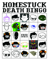 Target, Tumblr, and Blog: HOMESTUCK  DEATH BINGO  FREE  SPACE salticid:  made this in preparation.  who wants to play it with me