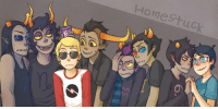 "Target, Tumblr, and Blog: Homestuck sassy-gay-andy: I was trying to make a new banner for my y!g and this was the result. I forgot there were size restrictions for the banners so now I am kind of regretting it, so I might change it again eventually. Because now that I took a good look at it, I realized I wasn't all that happy with it. /sigh I was going to write ""Homostuck"" at first since only the boys are there but idk what happened. I like to think John has bigass cow eyes. Also, I KEEP FORGETTING ERIDAN'S RINGS UGGGGGGGGGHHHHHHHH. Too late to add them now though. :/"
