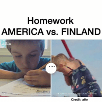 "Memes, Homework, and 🤖: Homework  AMERICA vs. FINLAND  attn:  00G EAT DOG FILMS (2016)  Credit: attn Follow me (@untoxic) for more! 🔮 -Credit: attn 👇Comment ""WOW"" 1 letter at a time without getting interrupted 😱"