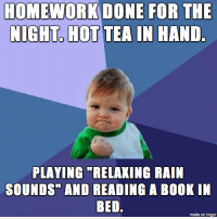 """HOMEWORK DONE FOR THE  NIGHT, HOT TEA IN HAND  PLAYING """"RELAKING RAIN  SOUNDS"""" AND READING A BOOK IN  BED.  made on imgur"""