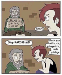 Homeless: HoMLESs  S PLEASE  Stop RAPING MEI  GASPI  Check your  white, cis,  misogynistic,  male  privilege. Homeless